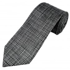 Profuomo Luxury Black & White Patterned Silk Designer Tie