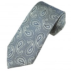 Profuomo Luxury Navy, Silver & Light Blue Paisley Patterned Silk Designer Tie
