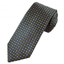Profuomo Luxury Navy, Sky Blue & Orange Patterned Silk Designer Tie