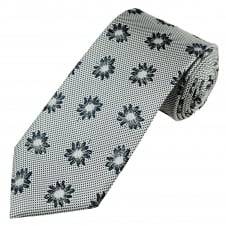 Profuomo Luxury Silver & Navy Blue Flower Patterned Silk Designer Tie
