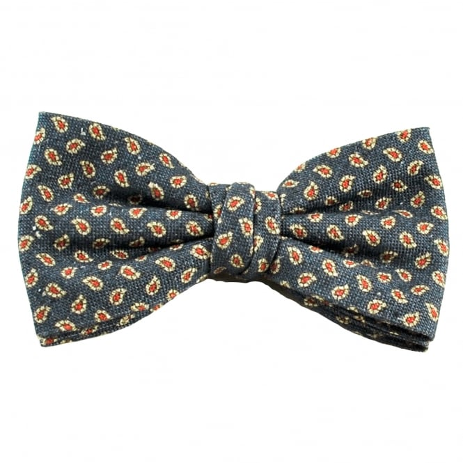 Profuomo Navy Blue, Beige & Red Paisley Patterned Silk/Cotton Designer Men's Bow Tie