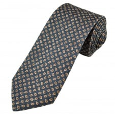 Profuomo Navy Blue, Beige & Red Paisley Patterned Silk Designer Tie