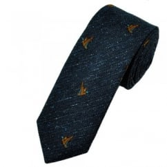 Profuomo Navy Blue Flying Ducks Country Themed Silk Tie