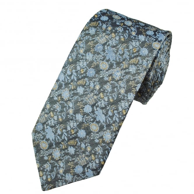 Profuomo Navy Blue, Light Blue & Gold Flower Patterned Silk Designer Tie