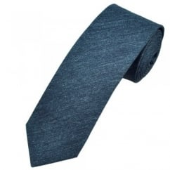 Profuomo Navy Blue Narrow Silk Men's Tie with Floral Tipping