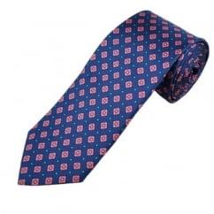 Profuomo Navy Blue, Pink & Blue Patterned Men's Designer Silk Tie