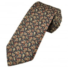 Profuomo Navy Blue, Red & Beige Paisley Patterned Silk/Cotton Designer Tie