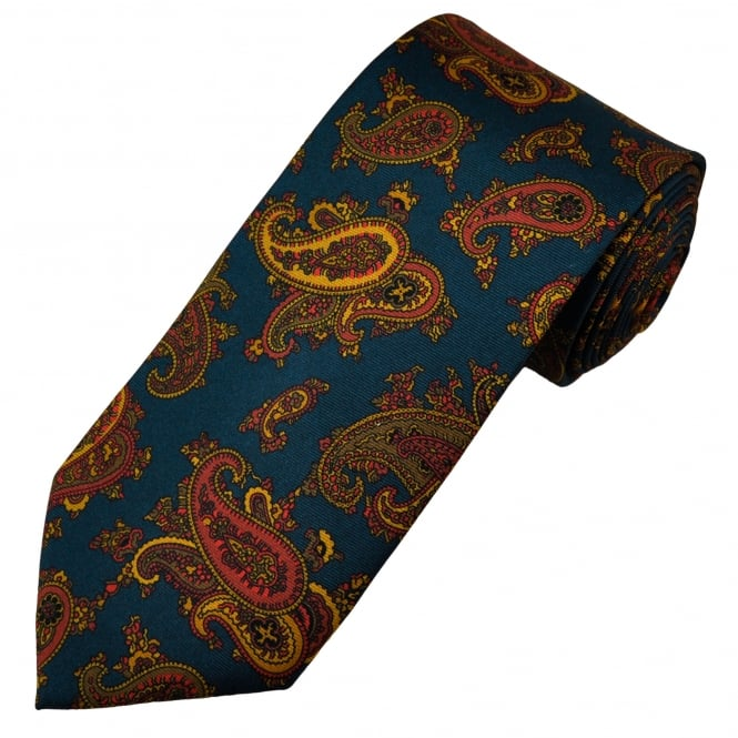 Profuomo Navy Blue, Red, Gold & Beige Paisley Patterned Silk Designer Tie