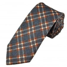Profuomo Navy Blue, Red & Ivory Checked Silk/Cotton Designer Tie