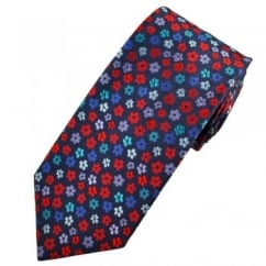 Profuomo Navy Blue, Red, Lilac & Blue Flower Patterned Men's Silk Designer Tie