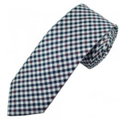 Profuomo Navy Blue, Red & Silver Checked Narrow Men's Designer Tie