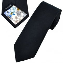 Profuomo Navy Blue Silk Narrow Designer Tie