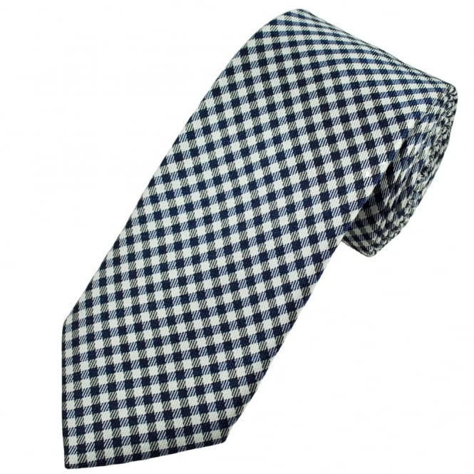 Profuomo Navy Blue & Silver Checked Men's Silk Designer Tie