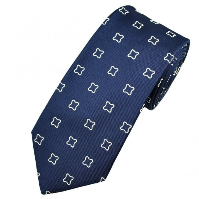 Profuomo Navy Blue & Silver Patterned Men's Silk Designer Tie