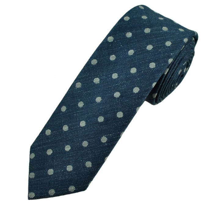 Profuomo Navy Blue & Silver Polka Dot Narrow Men's Designer Tie