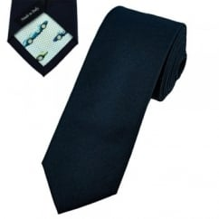 Profuomo Navy Blue Skinny Cotton Designer Tie with Racing Car Tipping