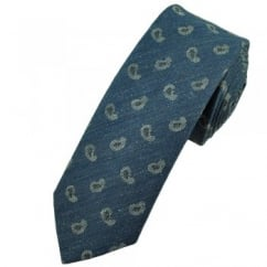 Profuomo Navy Blue & White Paisley Narrow Men's Designer Tie