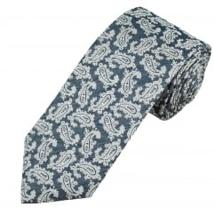 Profuomo Navy Blue & White Paisley Patterned Silk Designer Tie