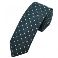Profuomo Navy Blue & White Polka Dot Narrow Men's Designer Tie
