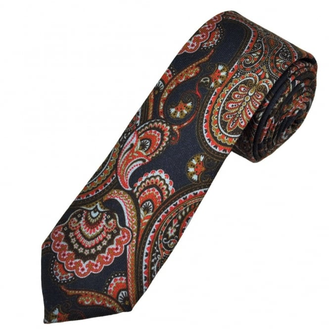 Profuomo Navy, Red, Gold & Brown Patterned 100% Wool Narrow Men's Tie