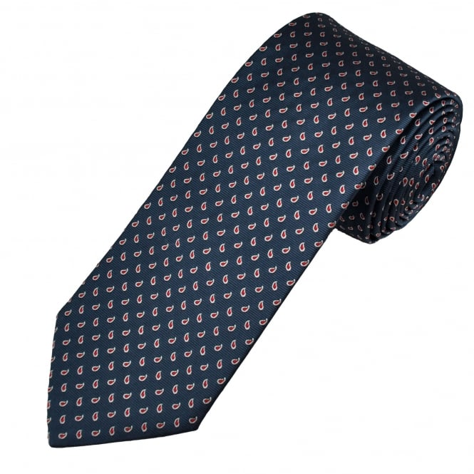 Profuomo Navy & Red Tear Drop Patterned Silk Designer Tie