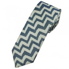 Profuomo Navy & Silver Zig Zag Patterned Silk Narrow Designer Tie