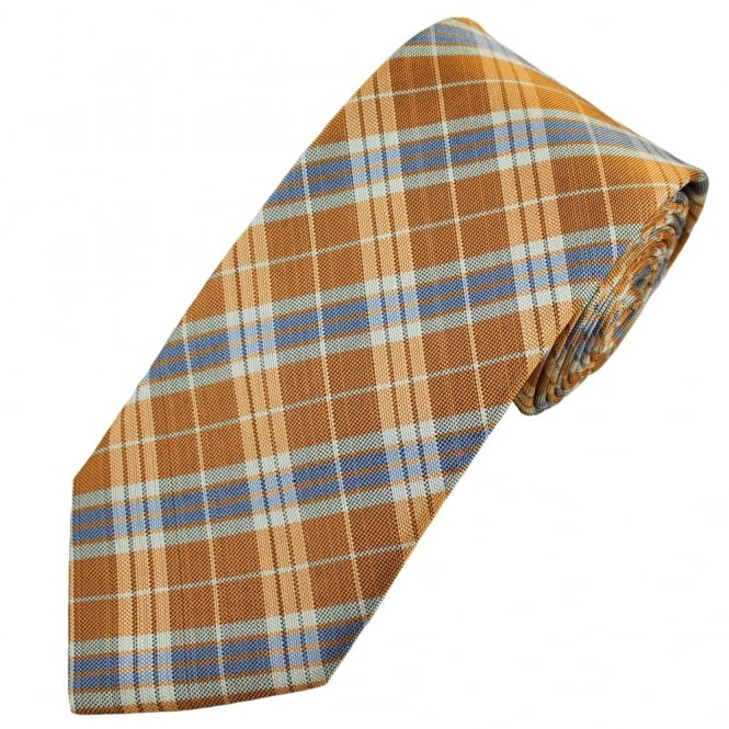 Profuomo Orange Checked Men's Silk Designer Tie
