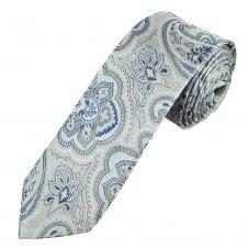 7b1bbe19ff25 Profuomo Originale Silver, Indigo & Blue Paisley Men's Silk Slim Tie