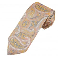 Profuomo Pastel Lilac, Gold, Red & Navy Paisley Patterned Silk Designer Tie