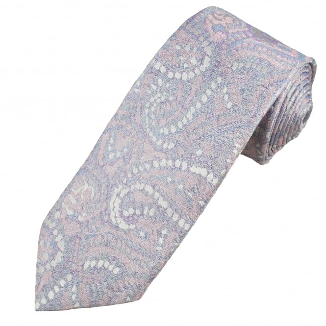 Profuomo Pastel Pink, Blue & Lilac Paisley Patterned Silk Designer Tie