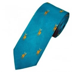 Profuomo Petrol Stag Country Themed Silk Designer Tie