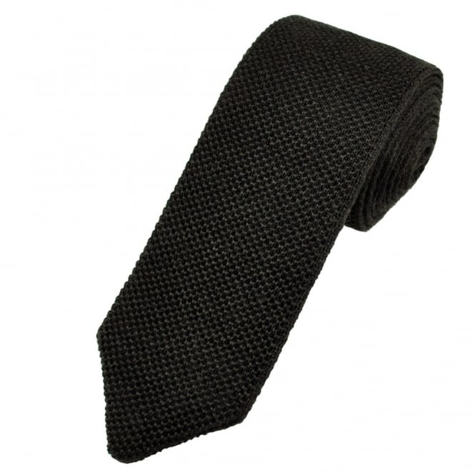 Profuomo Plain Brown Wool Designer Knitted Tie From Ties Planet Uk