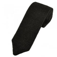 Profuomo Plain Brown Wool Designer Knitted Tie