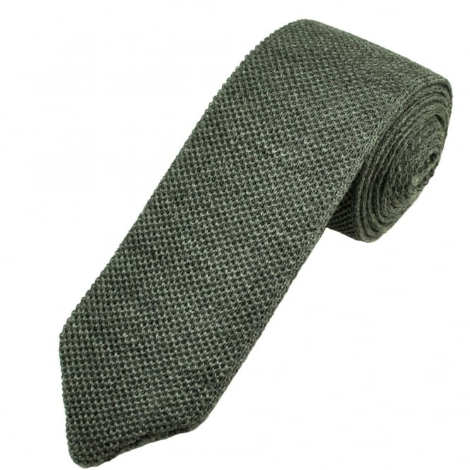 Profuomo Plain Grey Wool Designer Knitted Tie