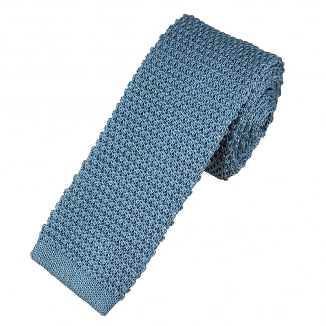 Profuomo Plain Light Blue Knitted Silk Designer Tie
