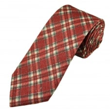 Profuomo Raspberry Red, Ivory & Grey Checked Silk Designer Tie