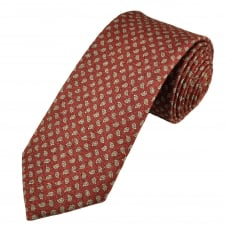 Profuomo Red, Beige & Grey Paisley Patterned Silk/Cotton Designer Tie