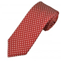 Profuomo Red & Blue Tear Drops Patterned Silk Designer Tie