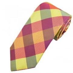 Profuomo Red, Orange, Yellow & Blue Checked Men's Silk Designer Tie