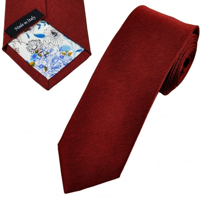Profuomo Red Silk Narrow Designer Tie