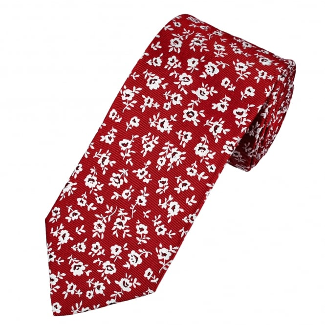 Profuomo Red & Silver Flower Patterned Silk Designer Tie