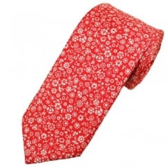 Profuomo Red & White Flower Patterned Men's Silk Designer Tie