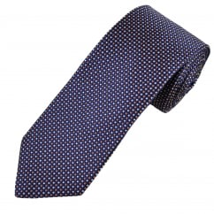 Profuomo Royal Blue, Silver & Gold Polka Dot Silk Designer Tie