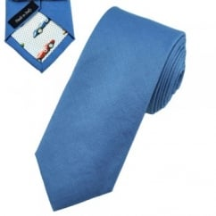 Profuomo Royal Blue Skinny Cotton Designer Tie with Racing Car Tipping
