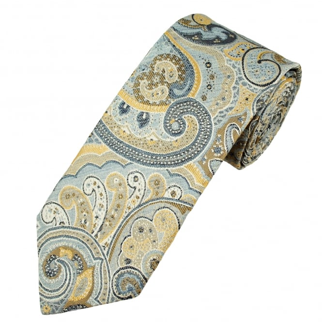Profuomo Shades Of Blue, Yellow & Ivory Patterned Silk Designer Tie