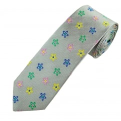 Profuomo Silver, Green, Yellow, Blue & Pink Flower Patterned Silk Designer Tie