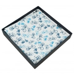 Profuomo White & Blue Bicycles Cotton Pocket Square Handkerchief