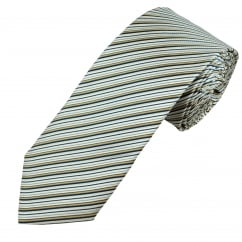 Profuomo White, Gold & Navy Diagonal Striped Silk Designer Tie