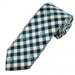Profuomo White & Navy Check With Pink Flower Patterned Silk Designer Tie