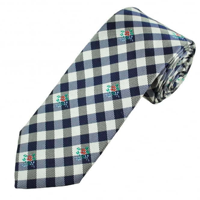Profuomo White & Navy Check With Red Flower Patterned Silk Designer Tie